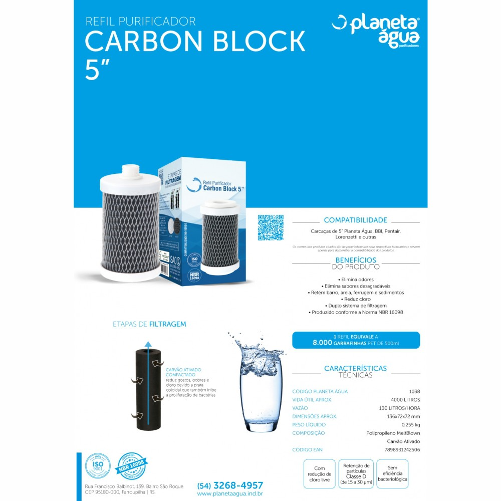 "Refil Carbon Block 5"" para Fit5"" Planeta Água, Pentair, Lorenzetti"